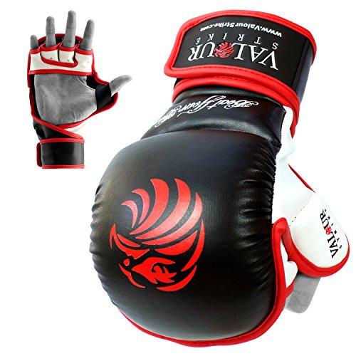 Pro MMA Sparring guantes y # x2605; Negro Guantes de boxeo Muay Thai Training combate luchando UFC artes marciales mixtas manopla y # x2605; Boxeo jaula Kickboxing guante–Valour Strike®, Black,Red,White
