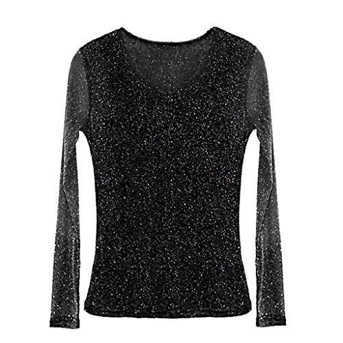 Linkay T Shirt Damen Kurz Aushöhlen Bluse Tops Mesh Shining Elegant Oberteile Mode 2019 (Gold, Medium)