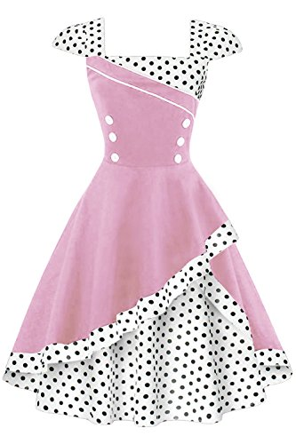 Babyonline Retro Vintage 50er 60er Rockabilly Kleid Cocktailkleider Swing Polka Dots Elegant Sommer...