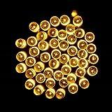 gaddrt Solarbetriebene Kristallkugel leuchtet String Party Decor auffällig mit 50 LED-Perlen (Gelb)