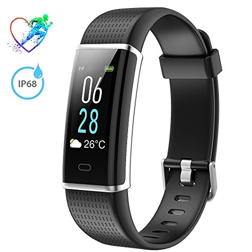 Price comparison product image Fitness Tracker IP68 Waterproof, Mpow Heart Rate Monitor ID130Plus Color HR with Colorful LCD Display (5-Level Brightness), 14 Exercise Modes, Weather Forecast, Pedometer, Sleep Monitor