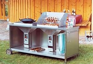 fahrbare exklusive duo grillstation mit 2 th ros ii grilleins tzen edelstahl k che. Black Bedroom Furniture Sets. Home Design Ideas