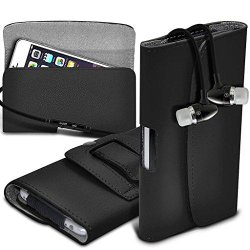 ONX3 (Schwarz) LG Volt 3 LS755 Case Premium Horizontal Kunstleder Gürtel Holster-Beutel-Abdeckung Fall enthält Stereo-Ohrhörer aus Aluminium