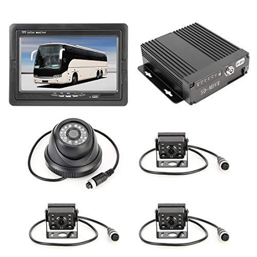 Parking Accessories Parkzubehör LKW-360-Grad-Echtzeitüberwachung 4 CH SD-Echtzeit-720P 1280 * 720 Pixel SD-mobiler DVR, Unterstützung SD-Karte (max. 128 G), mit Monitor