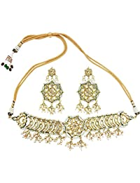Mehrunnisa High Quality Kundan & Pearls Choker Necklace Set For Women (JWL2309)