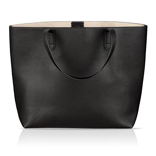 Winter & Co. Damen Handtasche Shopper Leder (Vegan) - Aktentasche Elegant Groß - Wandelbares Design - Für A4 Ordner - Ideal Fürs Büro Und Freizeit (Schwarz)