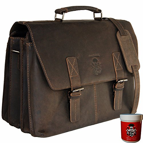 BARON de MALTZAHN Porte-documents Sac ordinateur portable GAUDI cuir marron + soins en cuir