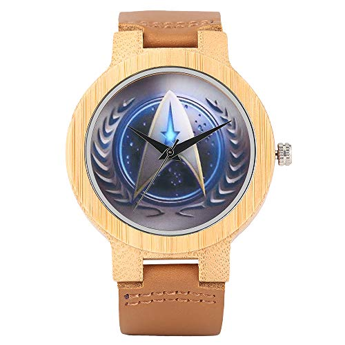 Star Trek Bambus Armbanduhr, Herren Handgefertigt Natur Uhren, Echtes Leder Band Bambus Armbanduhr Armband