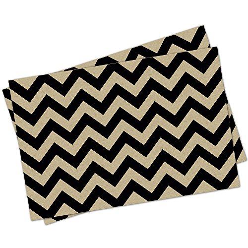 Papier-Platzdeckchen mit Notizkarten-Motiv, 48 Stück, Zickzackmuster, 27,9 x 43,2 cm, Schwarz (Papier-tischsets Chevron)