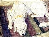 Posterlounge Holzbild 130 x 100 cm: Liegender Hund von Franz Marc/ARTOTHEK