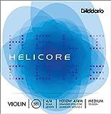 Juego de cuerdas para violín Helicore de D'Addario con cuerda Mi entorchada, escala 4/4, tensión media.