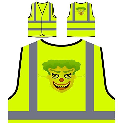 Happy Halloween Clown LUSTIGE NEUHEIT Personalisierte High Visibility Gelbe Sicherheitsjacke Weste k3v (Clowns Halloween Happy)