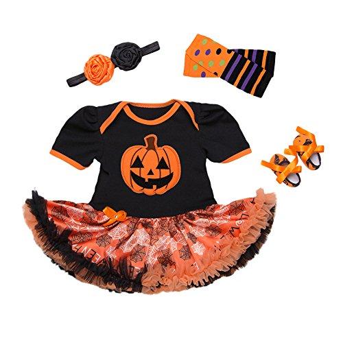 Kostüme Neugeborenen Wolf Halloween (Zantec Kleinkind Hallween Kleider Set Neugeborenes Baby Kurzarm Kürbis Muster Kleid + Streifen Socken Ärmel + Schuhe + Blume)