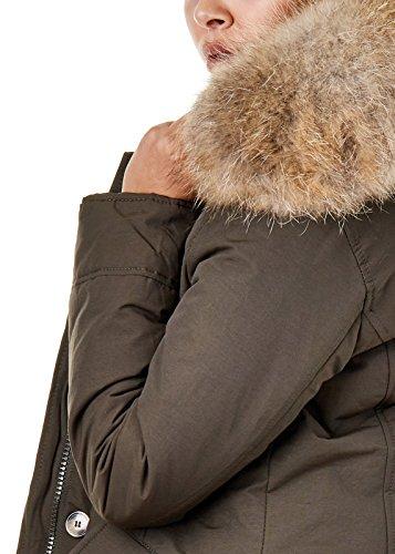 EightyFive EFW27 Damen Jacke Parka Mantel Winterjacke Echtfell Kapuze Warm Gefüttert Waschbar Schwarz Navy Khaki Rot, Größe:XS, Farbe:Khaki - 4