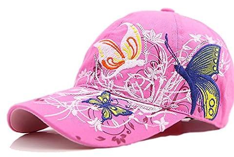 Frauen-Baseball Kappe Mütze-Leichte Kappe mit Schmetterling und Blumen-Stickerei-Sommer-Hut,rosa