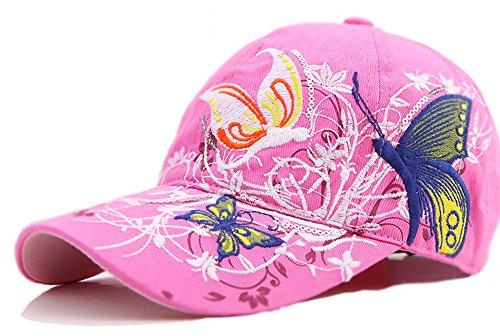Frauen-Baseball Kappe Mütze-Leichte Kappe mit Schmetterling und Blumen-Stickerei-Sommer-Hut,rosa (Rosa Pailletten Cowgirl Hut)