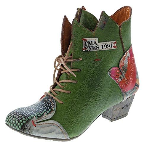Senhoras Ankle Boots Genuína Botas De Couro Padrão Variam Sapatos De Conforto Tma 7707 Botas 36-42 Verdes