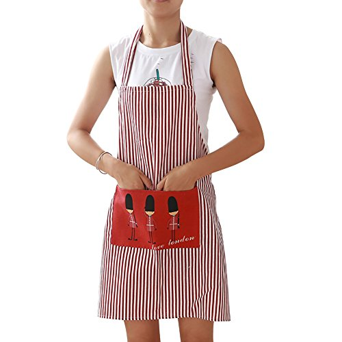 Little Finger Herren Frauen Stripe Pocket Schürze Eiffelturm Soldaten Muster Küche Kochen Werkzeug, Red + White, Soldier Little Red Grill