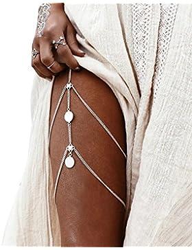 AnaZoz Körperschmuck Damen Beinkette Münzen Anhänger Körperkette, Hotpants Bikini Badeanzug Sommer Oberschenkelkette...
