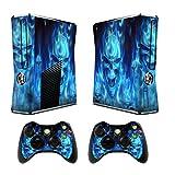 Xbox 360 Slim Designfolie Sticker Skin - Vinyl Aufkleber Schutzfolie für Xbox 360 Slim Konsole mit 2 Aufkleber für Xbox 360 Controller Skull of Blue Fire