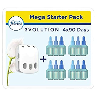 Ambipur Febreze 3Volution Air Freshener Plug In Starter Kit Cotton Fresh and 4 Refill, 3 Alternating Scents To Clean Away Odours, 20 ml