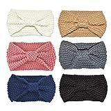 DRESHOW 6 Pezzi Crochet Turbante Fascia Capelli Tessuto di Lana Fascia da Donna Invernale Accessori per Capelli Caldo Headwrap