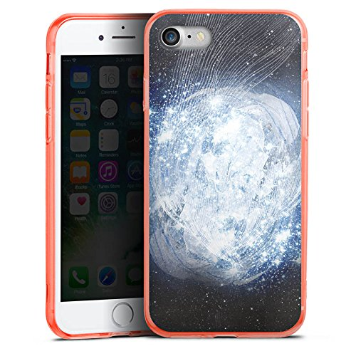 Apple iPhone 7 Silikon Hülle Case Schutzhülle Universum Galaxie Dimension Silikon Colour Case neon-orange