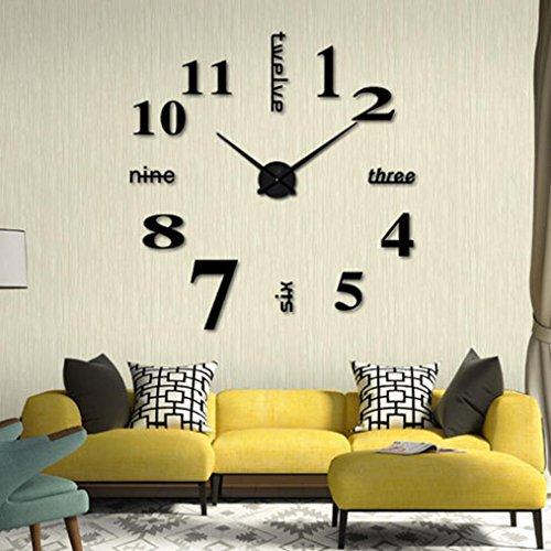 Koly Moderno Bricolaje Reloj de pared 3D sin marco Grande Espejo Superficie Etiqueta engomada Inicio Relojes Horas Decoraciones Para Sala de estar Dormitorio Oficina (50cm, Negro)