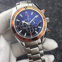 IWHSB Montres Homme Quartz Professionnel Sport Plongée Montre Mode Acier Inoxydable Orange Bleu Noir Quartz Chronographe Montre Étanche Acier Orange