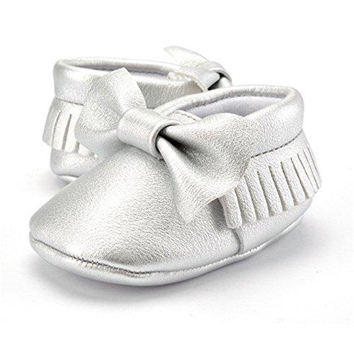 Interesting® Weiche Sohle Mädchen Kind-Schuh-Prinzessin Leder Kleinkind Niedlich Schleife Schuhe Silber