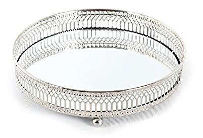 Mirror Glass Metal Antique Decorative Silver Candle Plate Display Tray by SIL