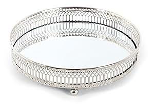 Plateau pour bougies avec fond en verre poli miroir et for Miroir contour argent