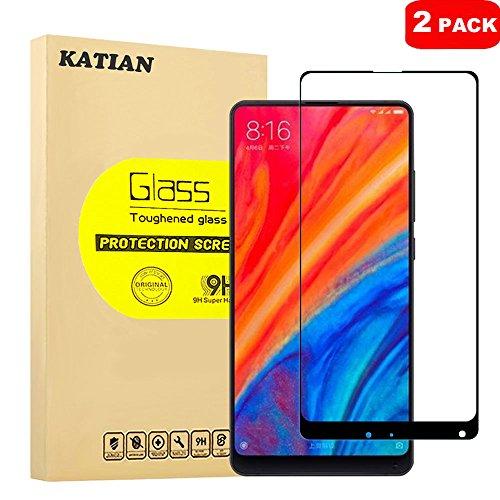 [2-Stück] Xiaomi Mi Mix 2S Panzerglas Schutzfolie, KATIAN Panzerfolie Bildschirmschutz 9H Gehärtetem Glass, HD Bildschirmschutzfolie für Xiaomi Mi Mix 2S (Schwarz)