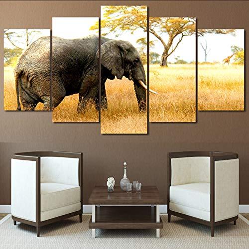lglays Sala De Estar HD Impreso Pintura Posters5 Panel Elefantes En Tropical...