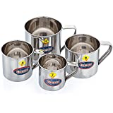 Expresso - Stainless Steel Silver Single-Walled Tea And Coffee Mug Set Of 4 Pieces 300ml/350ml/500ml/700ml
