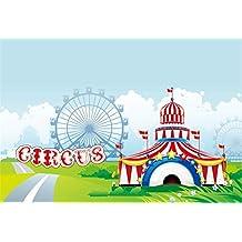 Cassisy 1,5x1m Vinilo Circo Telon de Fondo Rayas Blancas Rojas Carpas de Circo Rueda