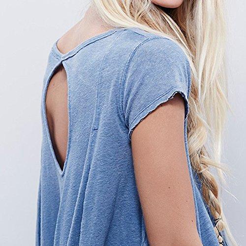 Femme T-shirt Lâche Asymétrique Dos Creux Col rond Manches Courtes Chemisier Un jean bleu