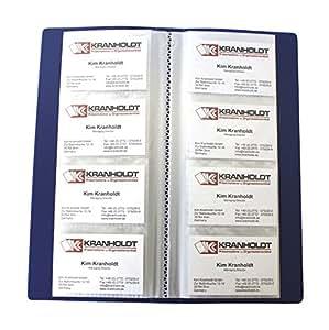 EXXO by HFP 24428 Visitenkartenbuch mit eingeschweißten Hüllen, für 240 Visitenkartenarten PP-Vollkunststoff, blau