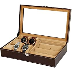 PU Leather 6-Slot Watch And 3 Slot Sunglasses Window Case Decorative Organizer