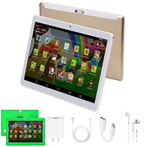 tablet giochi Tablet 10.1 Pollici HD WIFI Android 7.0 Quad Core 2GB RAM 32GB ROM/Espandere a 64 GB 3G Tablet Giochi Educativi 4000mAh Tablet per Bambini Supporto 3D Double SIM Bluetooth GPS OTG DUODUOGO G15 (Verde)