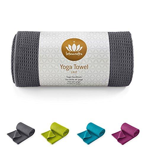 Image of Lotuscrafts Yoga Handtuch Wet Grip - Rutschfest & Schnelltrocknend - Antirutsch Yogatuch mit hoher Bodenhaftung - Yogahandtuch ideal für Hot Yoga [183 x 61 cm]