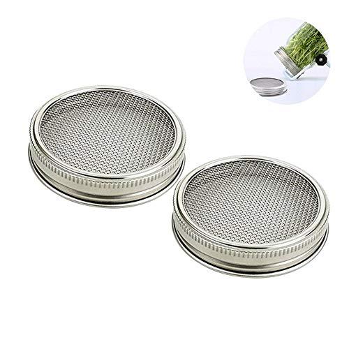 (AOLVO Edelstahl Etablieren Deckel Besondere für Wide Mouth Mason Jar, 4 PCS Deckel Resteschale für Brokkoli, Alfalfa und mungbean Samen Etablieren (2Pcs))
