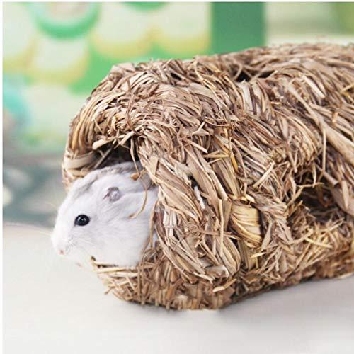 Gamloious Weiche Haustier-Woven Straw Haus Hand-gesponnene Gras Cottage Käfig für Kleintier Kaninchen Meerschweinchen Hamster Nest Zubehör -