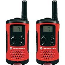 Motorola TLKR T40 - Walkie-Talkie (pantalla LCD, alcance hasta 4 km), color rojo y negro