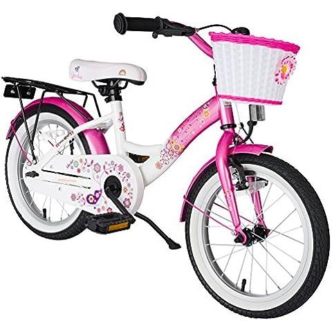 Bikestar - Bicicleta clásica para niños, 40.6cm, color rosa  y blanco