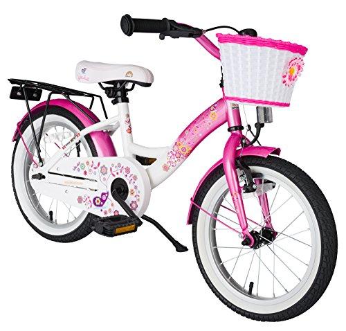BIKESTAR® Premium Kinderfahrrad für sichere und sorgenfreie Spielfreude ab 4 Jahren ★ 16er Classic Edition ★ Flamingo Pink & Diamant Weiß