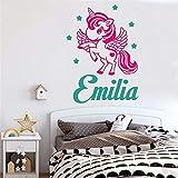 stickers muraux autocollant mural Chambre d'enfants Licorne Poney Fille Nom Personnalisé Affiche Murale Art Stickers Décor Décoration pour chambre d'enfants