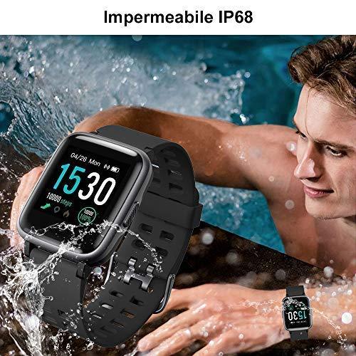 YAMAY Smartwatch Orologio Fitness Uomo Donna Impermeabile IP68 Smart Watch Cardiofrequenzimetro da Polso Contapassi Smartband Activity Tracker Bambini Cronometro per Android Ios