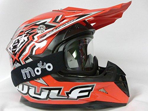 Caschi Bambini moto WULF SPORT FLITE XTRA Bambini Casco motocross MX ATV QUAD Off-road scooter Casco, Rosso con occhiali (S)