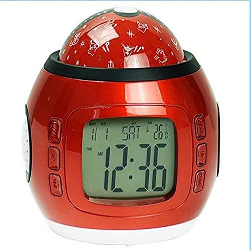 XXLYY Sternenhimmel Projektion wecker, LED Starry Sky Digitaler Melodien Musik Uhr Nachtlicht Kalender Thermometer Timer Baby Kinder Snooze Batteriebetrieben Schlafzimmer Dekoration weiß Rot, Red